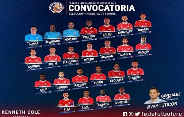 convocados Seleccion Nacional de Costa Rica 2018