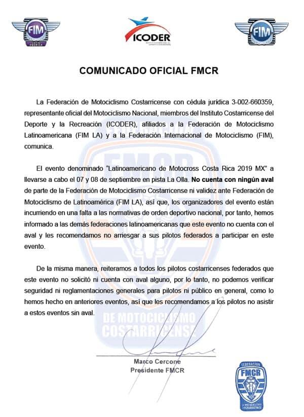 Comunicado oficial de FMCR - texto original 2019