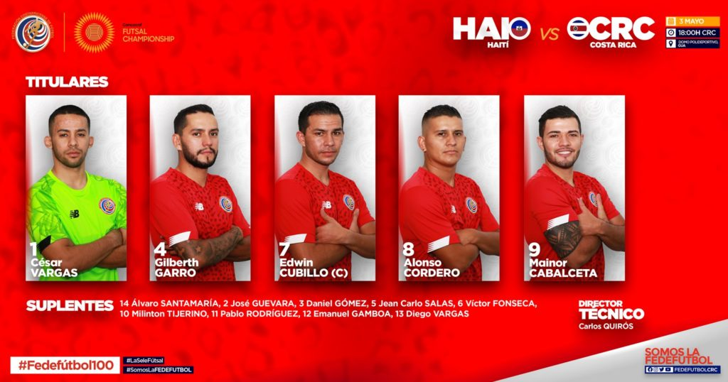 Costa Rica vs Haití titulares - Premundial Futsal Concacaf