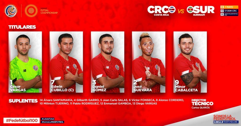 Costa Rica vs Surinam titulares - Premundial Futsal Concacaf