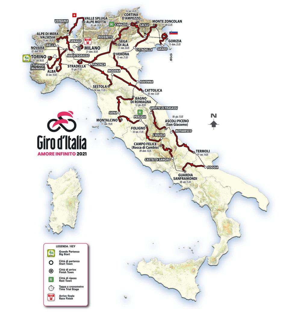 Giro de Italia 2021 - recorrido